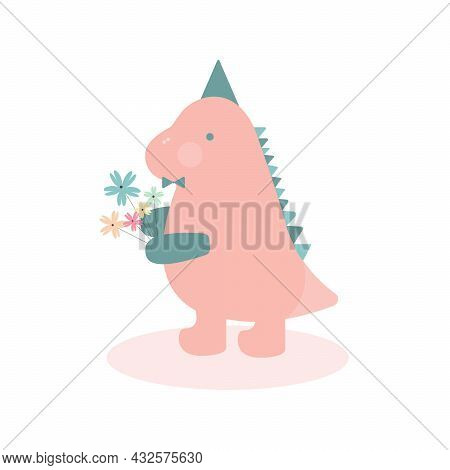 Pink Male Dinosaur Holding A Bouquet Of Flowers Isolated On White Background. Dino For Kids Postcard