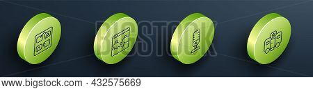 Set Isometric Line Storyboard, Music Wave Equalizer, Microphone And Actor Trailer Icon. Vector