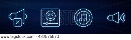 Set Line Music Note, Tone, Speaker Mute, Player And Volume. Glowing Neon Icon On Brick Wall. Vector