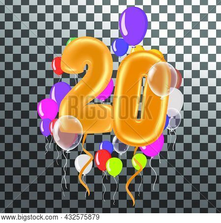 Happy Birthday Twenty Year, Fun Celebration Anniversary Greeting Card With Number, Balloon On Backgr