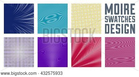 Moire Vector Abstract Backgrounds Set, Linear Contrast Virtual Digital Effect Images, Hypnotic Textu