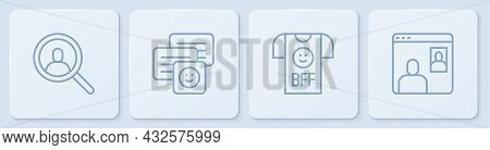 Set Line Magnifying Glass For Search, Bff Best Friends Forever, Chat Messages On Laptop And Video Ch
