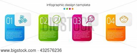 Set Line Abc Blocks, Beach Ball, Sperm And Little Boy Head. Business Infographic Template. Vector