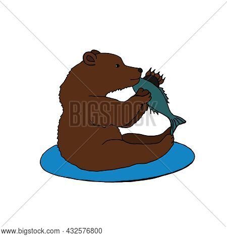 A Big Brown Bear Is Sitting And Eating A Caught Fish. Vector Illustration Of A Predatory Animal In T