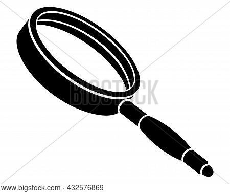Loupe, - Magnifying Glass - Vector Silhouette Illustration For Sign Or Icon. Framed Magnifying Lens