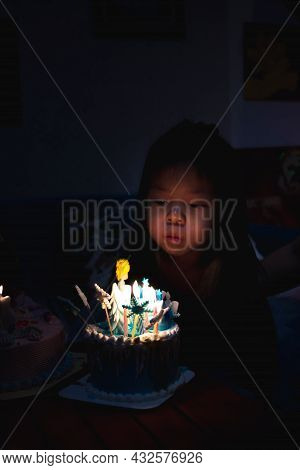 Concept For Celebrating Birthdays And Blowing A Cake. The Family Turned Off The Lights In The House
