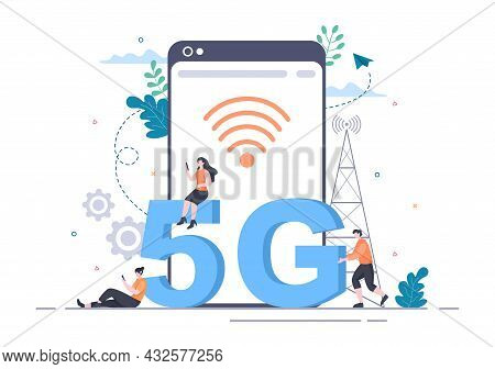 5G Network Wireless Technology Smartphone With Transmitter Tower Set Up High-speed Mobile Internet F