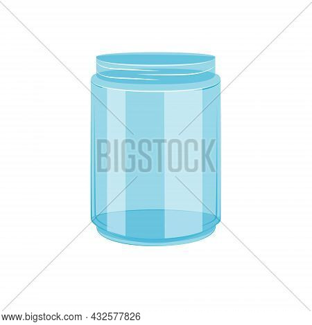 An Empty Glass Jar Without A Lid. Vector Illustration In The Flat Cartoon Style On A White Backgroun
