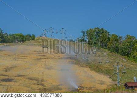 Minnesota\'s Detroit Mountain Recreation Area Is Being Reseeded. On The Down Hill Ski Slope Near The