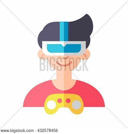 Isolated Gamer Man With A Joystick Vector Illustration