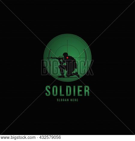 Vector Silhouette Of A Soldier With A Gun In The Optical Sight.