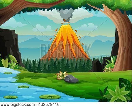 Nature Forest Landscape With A Volcano Erupt