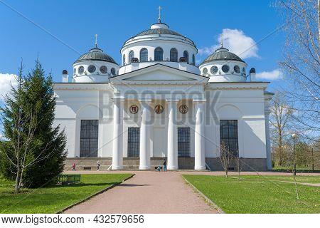 Pushkin, Russia - May 09, 2021: Sunny May Day At The Old St. Sophia Cathedral (1788). Tsarskoe Selo