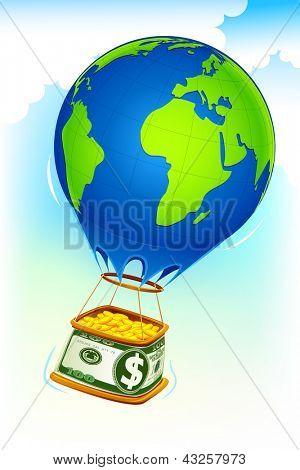 illustration of dollar hot air balloon full of gold coin