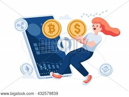 Woman Exchange Dollar Coin To Bitcoin Through Smartphone App. Cryptocurrency Exchange Trading Platfo