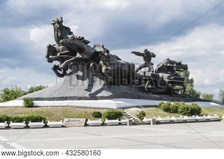 The Monument Of The Tachanka-rostovchanka In The City Of Rostov-on-don In Russia. A Clear Sunny Day