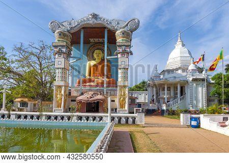 Negombo, Sri Lanka - February 03, 2020: Buddhist Temple Bodhirajarama Maha Viharaya (agurukaramulla