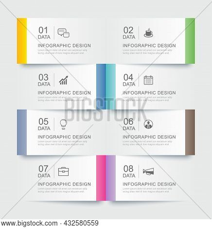8 Data Infographics Tab Paper Index Template. Vector Illustration Abstract Background.
