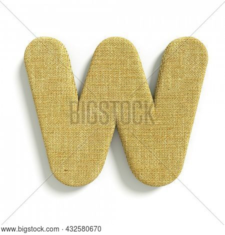 hessian letter W - Uppercase 3d jute font isolated on white background. This alphabet is perfect for creative illustrations related but not limited to fabric, design, decoration...