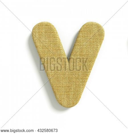 hessian letter V - Capital 3d jute font isolated on white background. This alphabet is perfect for creative illustrations related but not limited to fabric, design, decoration...