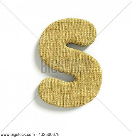 hessian letter S - Capital 3d jute font isolated on white background. This alphabet is perfect for creative illustrations related but not limited to fabric, design, decoration...