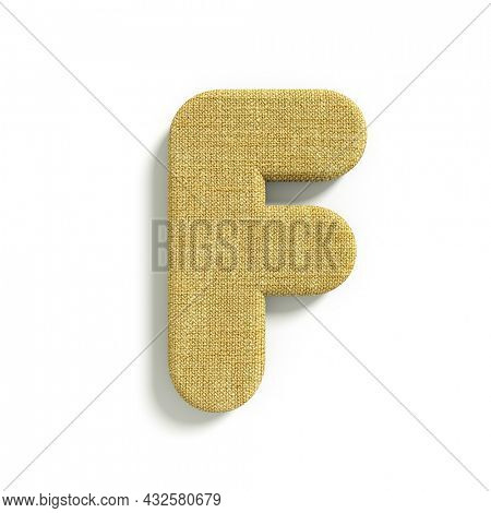 hessian letter F - Capital 3d jute font isolated on white background. This alphabet is perfect for creative illustrations related but not limited to fabric, design, decoration...