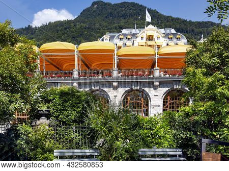 Switzerland, Montreux, August 2021 - The Fairmont Le Montreux Palace Hotel Is Located On The Shores