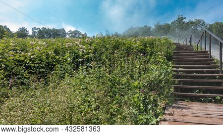 A Wooden Staircase With A Metal Railing Leads To The Hill. On The Side Of The Road - A Meadow With L