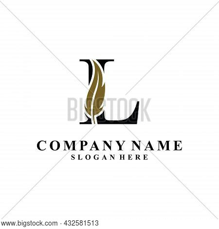 Initial Letter L Logo With Feather Concept. Design Concept Luxury Feather Element And Letter L For C