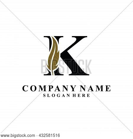 Initial Letter K Logo With Feather Concept. Design Concept Luxury Feather Element And Letter K For C