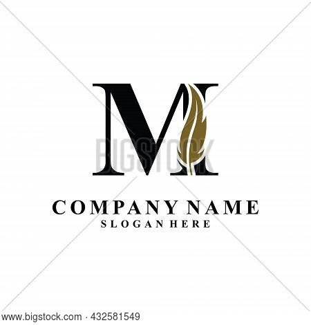 Initial Letter M Logo With Feather Concept. Design Concept Luxury Feather Element And Letter M For C