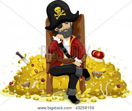 Illustration of a Pirate Guarding a Huge Pile of Gold