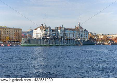 Saint Petersburg, Russia - October 25, 2019: Old Cruiser