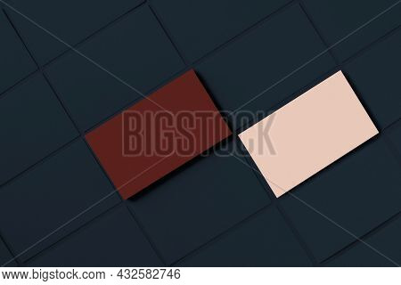 Blank business cards for corporate identity design in red and pink tone front and rear view