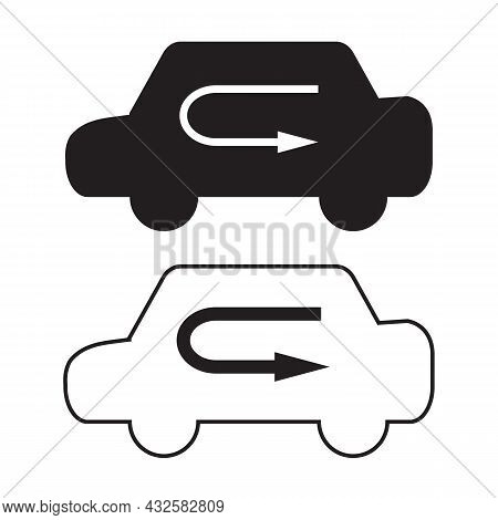 Air Control Icon On White Background. Recirculation Air Sign. Air From Inside Car Symbol. Flat Style