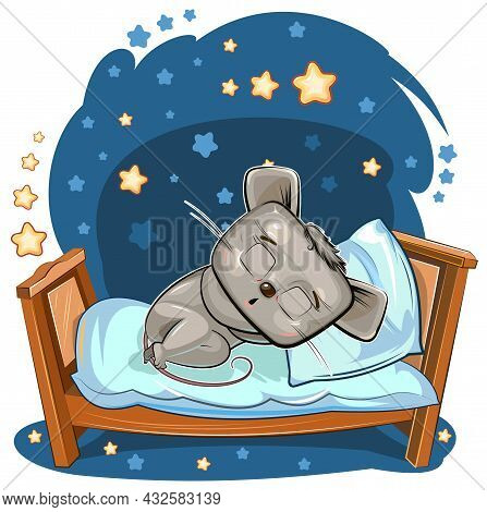 Baby Mouse Sleeps In Bed. Dreaming. Night And Stars. Childrens Illustration. Nice Baby Animal Fell A