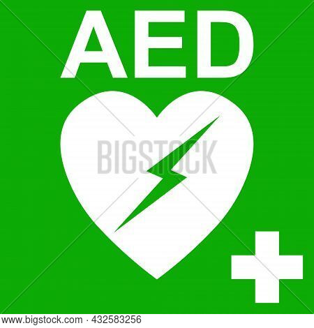 Aed Automatic External Defibrillator Symbol Heart Health