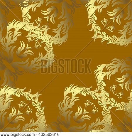 Floral Ornament Brocade Textile Pattern, Glass, Metal With Floral Pattern On Neutral, Yellow And Bro
