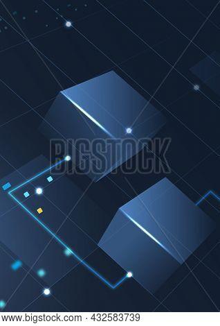 Blockchain technology background in gradient blue