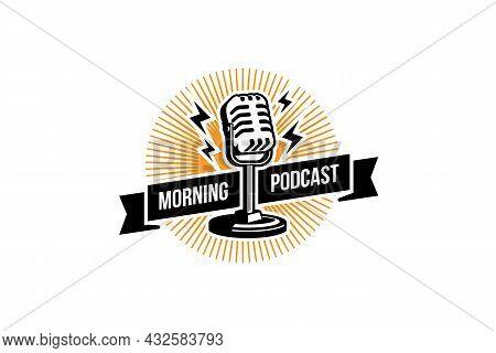 Podcast Logo Template. Mic Microphone And Sunrise Illustration. Design Element For Karaoke, Podcast,