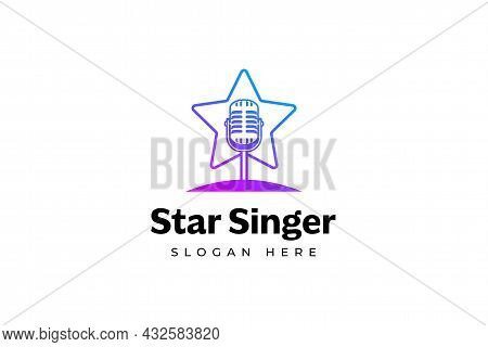 Singer Star Logo Template. Microphone Silhouette Inside Star. Icon For Leading, Song Contest, Event,