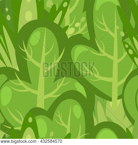 Flat Forest. Seamless Pattern. Illustration In A Simple Symbolic Style. Funny Green Landscape. Comic