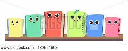 Books, Notebooks And Notepads On The Shelf. Cheerful Cute Cartoon Character. Horizontal Composition.