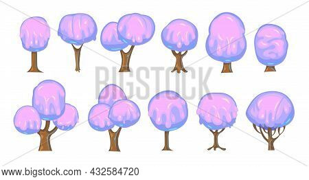 Set Of Fabulous Sweet Trees. For Landscapes With Purple Caramel, Ice Cream Or Jelly. Perspiration. C