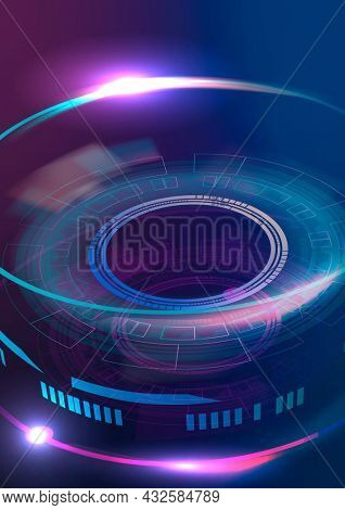 Optical lens technology background in purple and blue gradient