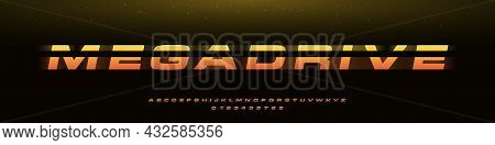 Megadrive Bold Italic Font With Dynamic Slant And Geometric Cut, Speed Effect, Battle, Or Fast Deliv