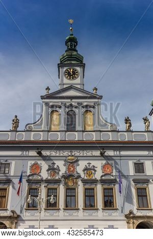 Tower Of The Historic Town Hall In Ceske Budejovice, Czech Republic