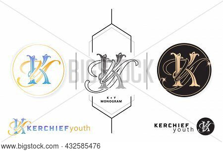 Ky Initial Letter And Graphic Name, Ky Or Yk Monogram, For Wedding Couple Symbolic, Company And Icon