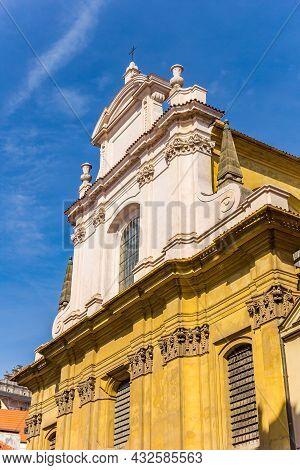 Facade Of The Church Of The Virgin Mary In Mala Strana,prague, Czech Republic