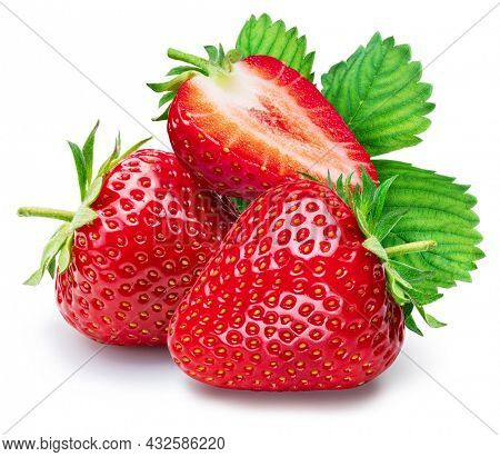 Ripe strawberries fruits with green strawberry leaf isolated on a white background.